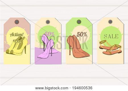 Vector illustration of Set Tags hand drawn graphic Man and Women Footwear, shoes for store discount. Casual and sport style, gumshoes Shoes for all seasons. Moccasins, sneakers, boots, pumps. Doodle, drawn