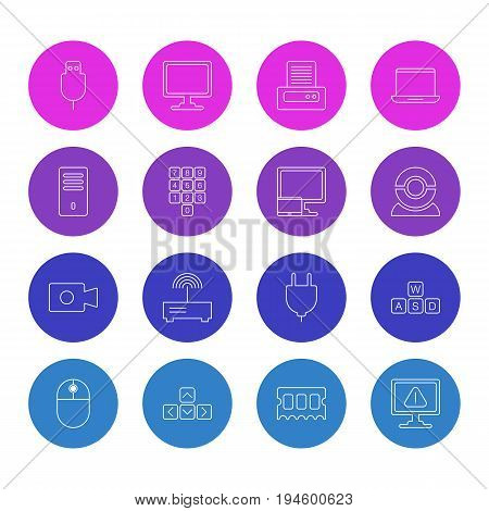 Vector Illustration Of 16 Computer Icons. Editable Pack Of Tablet With PC, Movie Cam, Router And Other Elements.
