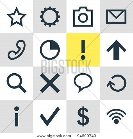 Vector Illustration Of 16 Interface Icons. Editable Pack Of Asterisk, Info, Magnifier And Other Elements.