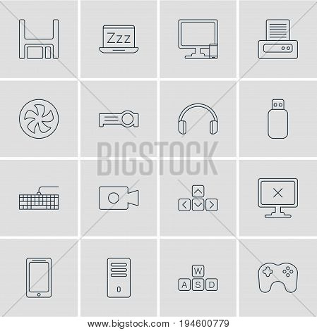 Vector Illustration Of 16 Notebook Icons. Editable Pack Of Gamepad, Diskette, Headsets And Other Elements.