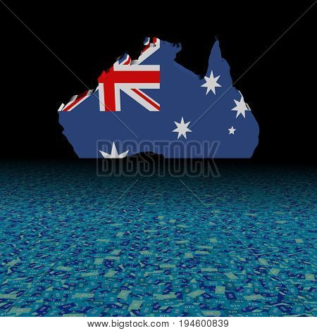 Australia map flag with abstract dollar foreground 3d illustration
