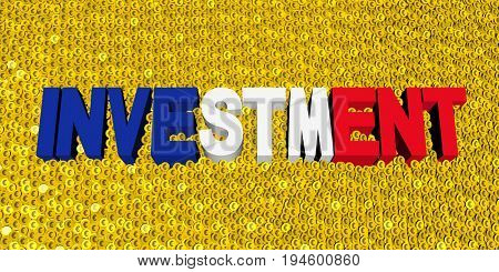 Investment text with French flag on coins 3d illustration