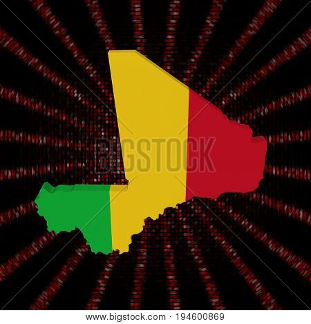 Mali map flag on red hex code burst 3d illustration