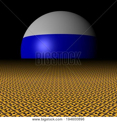 Russian flag sphere and radioactive warning signs 3d illustration