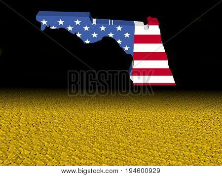 Florida map flag with dollar coins foreground 3d illustration