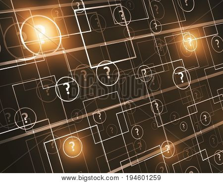 Abstract digital connected question and lamp background. FAQ concept. 3D Rendering