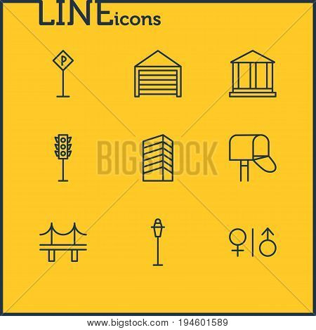 Vector Illustration Of 9  Icons. Editable Pack Of Lamppost, Golden Gate, Road Sign And Other Elements.