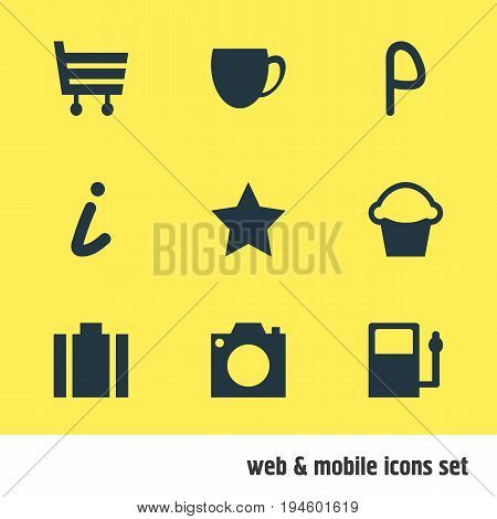 Vector Illustration Of 9 Map Icons. Editable Pack Of Bookmark, Map Information, Coffee Shop And Other Elements.