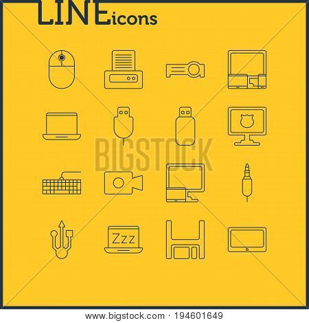 Vector Illustration Of 16 Computer Icons. Editable Pack Of Diskette, Serial Bus, Input Jack And Other Elements.