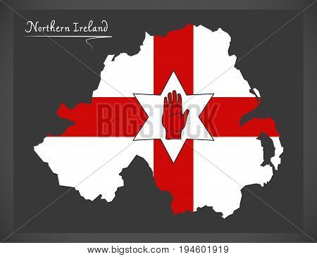 Northern Ireland Northern Ireland Map With Ulster Banner National Flag Illustration
