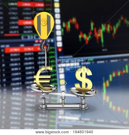 Concept Of Exchange Rate Support Dollar Vs Euro The Crane Pulls The Euro Up And Lowers The Dollar On