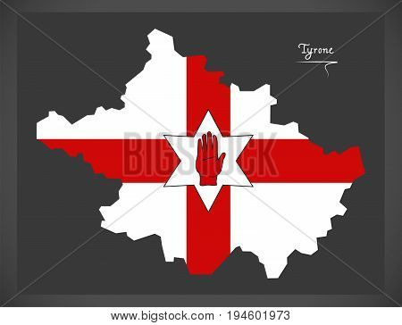 Tyrone Northern Ireland Map With Ulster Banner National Flag Illustration