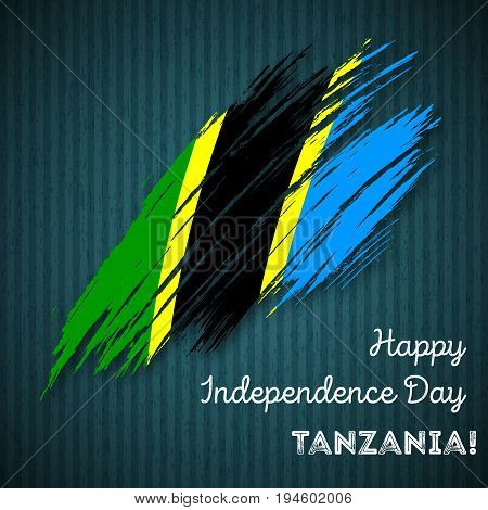 Tanzania Independence Day Patriotic Design. Expressive Brush Stroke In National Flag Colors On Dark