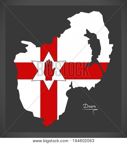 Down Northern Ireland Map With Ulster Banner National Flag Illustration