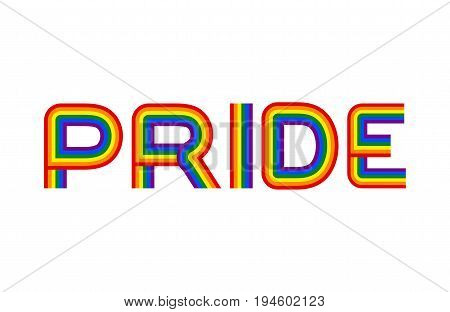Pride Lgbt Community Emblem. Rainbow Letters Gay Symbol
