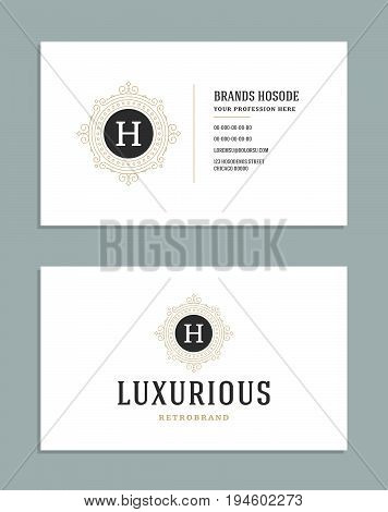 Business card vintage ornament style and luxury logo vector template. Retro elegant royal design. flourishes ornamental frame on white background.