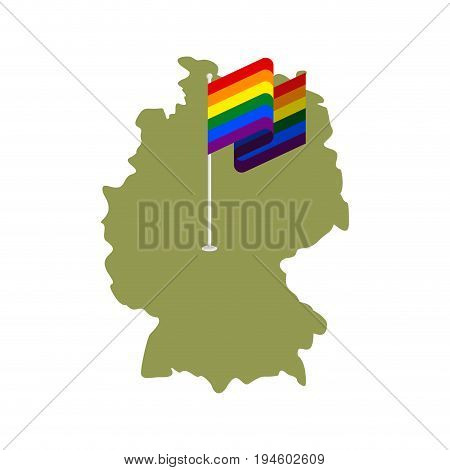 Lgbt Germany. Map Of Deutschland And Gay Flag. European Union Country Permission Of Same-sex Marriag