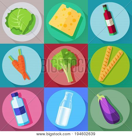 Vector food icons set in modern flat style. Cabbage, cheese, vine, carrot, broccoli, bread, water milk eggplant Healthy food icons