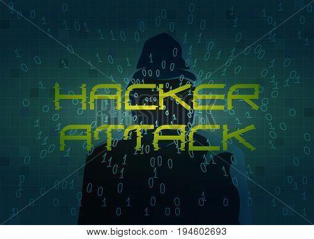 Hacker attack. Technology background with dark figure silhouette