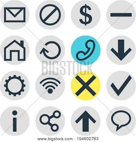 Vector Illustration Of 16 Interface Icons. Editable Pack Of Confirm, Cordless Connection, Info And Other Elements.