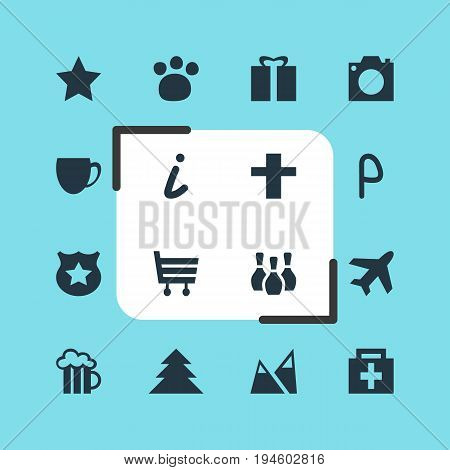 Vector Illustration Of 16 Location Icons. Editable Pack Of Shopping Cart, Jungle, Photo Device And Other Elements.