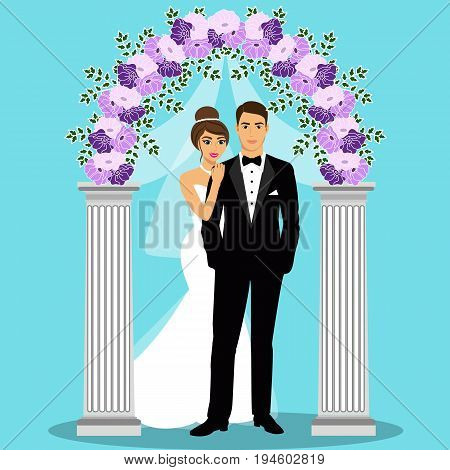 Wedding arch with bride and groom. Bride and groom. Wedding decoration. Vector illustration.