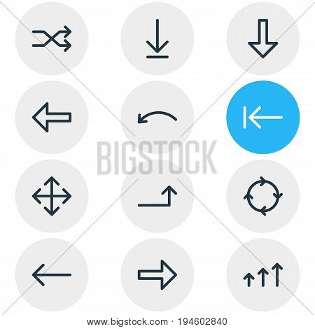 Vector Illustration Of 12 Direction Icons. Editable Pack Of Increase, Randomize, Widen Elements.