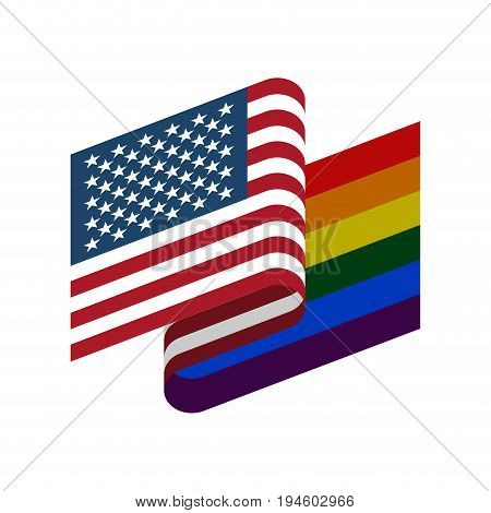 Usa And Lgbt Flag. Symbol Of Tolerant America. Gay Sign Rainbow