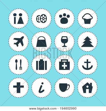 Vector Illustration Of 16 Map Icons. Editable Pack Of Briefcase, Anchor, Handbag Elements.