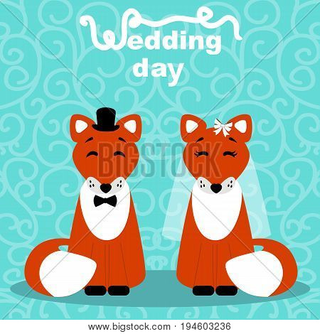 Wedding card with the bride and groom on an abstract background. Foxes. Bride and groom. Vector illustration.