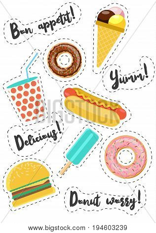 Fast street food vector stickers. Burger, hot dog, donut , ice cream, drink. Phrases about food. Modern flat style illustration.
