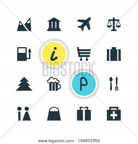Vector Illustration Of 16 Travel Icons. Editable Pack Of Handbag, Cafe , Landscape Elements.