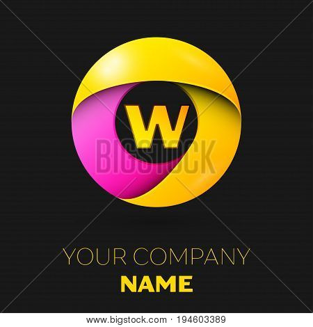 Realistic letter W vector logo symbol in the colorful circle on black background. Vector template for your design
