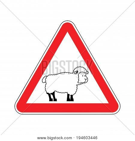 Attention Of Sheep. Caution Farm Is An Animal. Red Prohibitory Road Sign. Ban Ewe