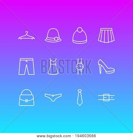 Vector Illustration Of 12 Dress Icons. Editable Pack Of Hand Clock, Strap, Apparel Elements.