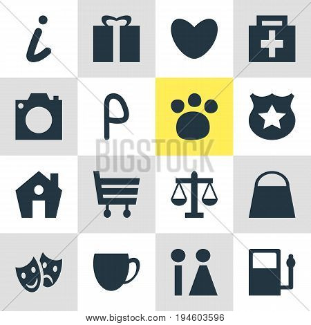 Vector Illustration Of 16 Travel Icons. Editable Pack Of Pet Shop, Present, Scales And Other Elements.