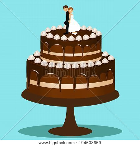 Wedding cake with bride and groom figurine. Bride and groom. Cake with cream. Vector illustration.