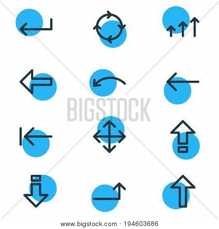 Vector Illustration Of 12 Direction Icons. Editable Pack Of Raise, Widen, Tab And Other Elements.