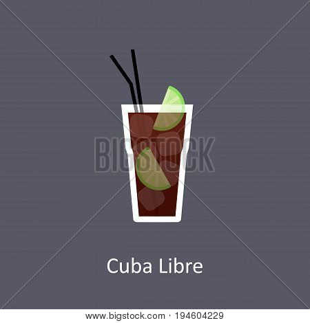 Cuba Libre cocktail icon in flat style on dark background. Vector illustration