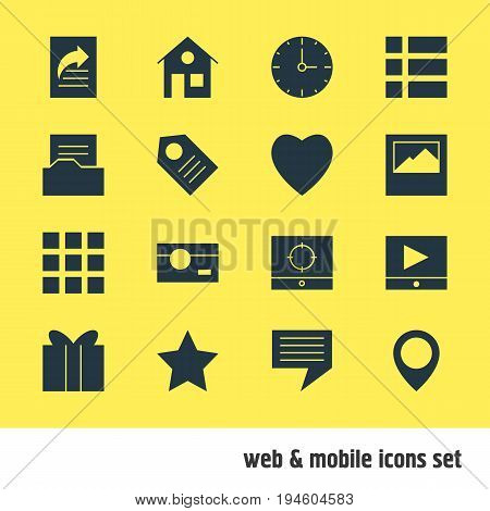 Vector Illustration Of 16 Internet Icons. Editable Pack Of Play Button, Bookmark, List And Other Elements.