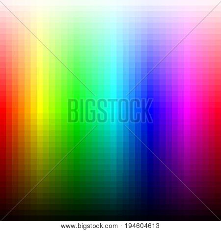 Color spectrum mosaic palette, hue and brightness. Vector illustration