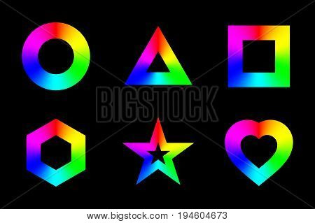 Geometric shapes frames with conical rainbow gradient, isolated on black background. Vector illustration