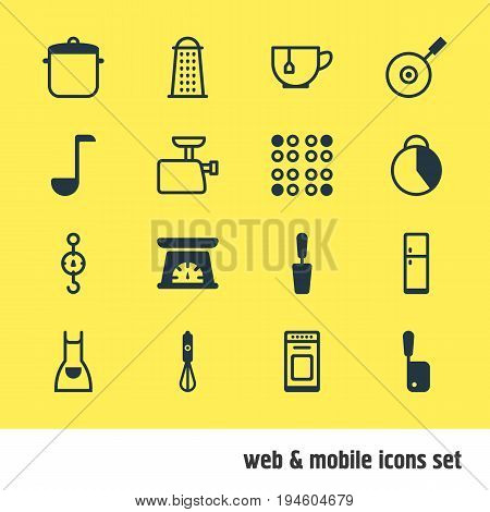 Vector Illustration Of 16 Restaurant Icons. Editable Pack Of Timekeeper, Spatula, Mug And Other Elements.