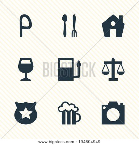 Vector Illustration Of 9 Check-In Icons. Editable Pack Of Photo Device, Wineglass, Car Park And Other Elements.