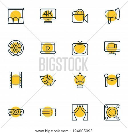 Vector Illustration Of 16 Film Icons. Editable Pack Of Filmstrip, Tv, Loudspeaker And Other Elements.