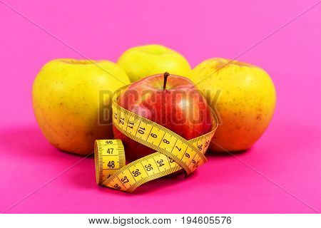 Composition Of Ripe Apples And Tape For Measuring