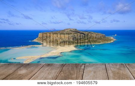 Empty Wooden Table With Amazing View Over Balos Lagoon And Gramvousa Island On Crete, Greece