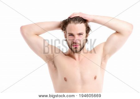 Morning Time And Sportive Shape Concept. Man With Naked Torso