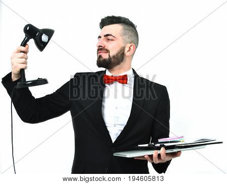 Confident Businessman Or Head Manager With Beard And Smile