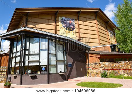 JACKSON HOLE, WYOMING - JUNE 27, 2017: Fritz Box Office at the Walk Festival Hall. The facility hosts the annual Grand Teton Music Festival.